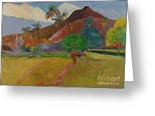 Tahitian Landscape Greeting Card by Paul Gauguin