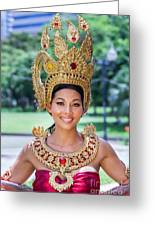 Thai Woman In Traditional Dress Greeting Card by Fototrav Print