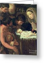 The Adoration Of The Shepherds Greeting Card by Guido Reni