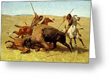 The Buffalo Hunt Greeting Card by Frederic Remington