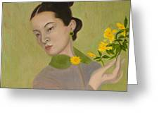 The Golden Kiss Of Spring Greeting Card by Lucy Chen