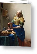 The Milkmaid Greeting Card by Johannes Vermeer