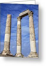 The Temple Of Hercules In The Citadel Amman Jordan Greeting Card by Robert Preston