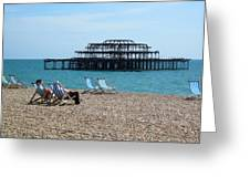 The West Pier Brighton Greeting Card by Mike Lester