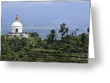 The World Peace Pagoda Pokhara Greeting Card by Robert Preston