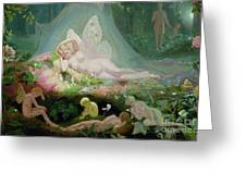 There Sleeps Titania Greeting Card by John Simmons