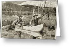 Trapping In The Adirondacks Greeting Card by Winslow Homer
