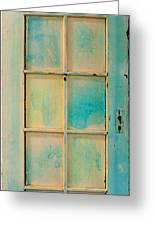 Turquoise And Pale Yellow Panel Door Greeting Card by Asha Carolyn Young