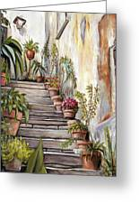Tuscan Steps Greeting Card by Melinda Saminski