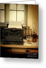 Typewriter And Whiskey Greeting Card by Jill Battaglia