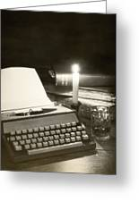 Typewriter By Candlelight Greeting Card by Amanda And Christopher Elwell
