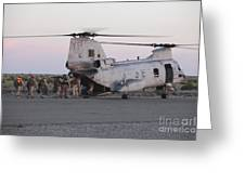 U.s. Marines Board A Ch-46 Sea Knight Greeting Card by Stocktrek Images