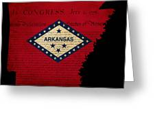 Usa American Arkansas State Map Outline With Grunge Effect Flag  Greeting Card by Matthew Gibson