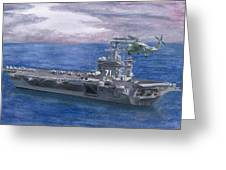 Uss Roosevelt Greeting Card by Sarah Howland-Ludwig