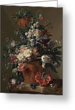 Vase Of Flowers Greeting Card by Jan van Huysum