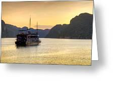 Vietnamese Junks On Halong Bay Vietnam Greeting Card by Fototrav Print