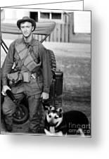 Walking The Dog Greeting Card by Mel Steinhauer