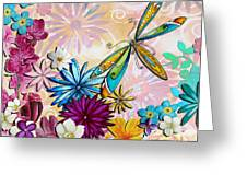 Whimsical Floral Flowers Dragonfly Art Colorful Uplifting Painting By Megan Duncanson Greeting Card by Megan Duncanson