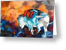 White Buffalo Ghost Greeting Card by Karen Kennedy Chatham