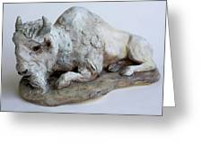 White Buffalo-sculpture Greeting Card by Derrick Higgins