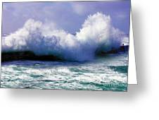 Wild Waves In Cornwall Greeting Card by Terri  Waters
