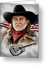 Willie Nelson American Legend Greeting Card by Andrew Read
