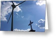Wind Turbine And Cross Greeting Card by Bernard Jaubert