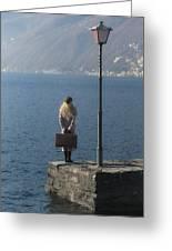 Woman On Jetty Greeting Card by Joana Kruse