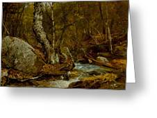 Woodland Interior Greeting Card by John Frederick Kensett