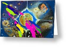 World Map And Barack Obama Stars Greeting Card by Augusta Stylianou