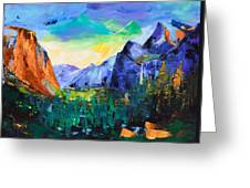 Yosemite Valley - Tunnel View Greeting Card by Elise Palmigiani