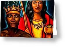 Chango and Saint Barbara Greeting Card by Carmen Cordova