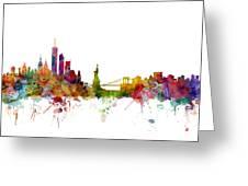 New York Skyline Greeting Card by Michael Tompsett