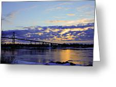 1000 Island Bridge Sunrise Greeting Card by David Simons