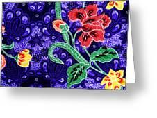 Colorful Batik Cloth Fabric Background Greeting Card by Prakasit Khuansuwan