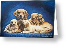 145 Golden Retriever And Pups Greeting Card by Sigrid Tune