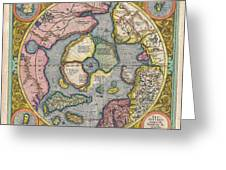 1606 Mercator Hondius Map Of The Arctic Greeting Card by Paul Fearn