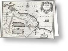 1635 Blaeu Map Guiana Venezuela and El Dorado Greeting Card by Paul Fearn