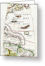 1688 Coronelli Globe Gore Map Of Ne North America The West Indies And Ne South America Geographicus Greeting Card by MotionAge Designs