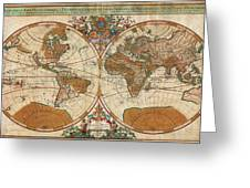 1691 Sanson Map Of The World On Hemisphere Projection Geographicus World Sanson 1691 Greeting Card by MotionAge Designs