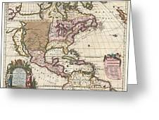 1698 Louis Hennepin Map Of North America Geographicus Northamerica Hennepin 1698 Greeting Card by MotionAge Designs