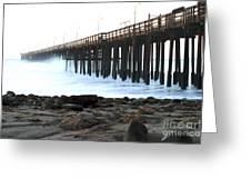 Ocean Wave Storm Pier Greeting Card by Henrik Lehnerer