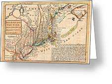 1729 Moll Map Of New York New England And Pennsylvania  Greeting Card by Paul Fearn