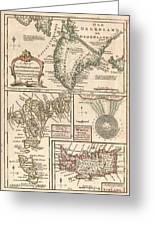 1747 Bowen Map Of The North Atlantic Islands Greenland Iceland Faroe Islands Greeting Card by Paul Fearn
