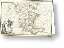 1762 Janvier Map Of North America  Greeting Card by Paul Fearn
