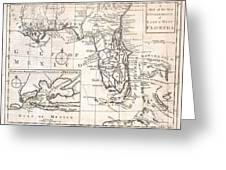 1763 Gibson Map Of East And West Florida Greeting Card by Paul Fearn
