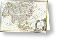 1770 Janvier Map Of Asia Greeting Card by Paul Fearn
