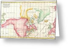 1772 Vaugondy And Diderot Map The North America Illustrating Clunys Voyages Greeting Card by Paul Fearn