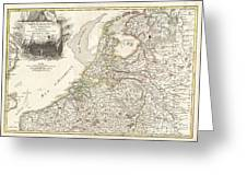 1775 Janvier Map of Holland and Belgium Greeting Card by Paul Fearn