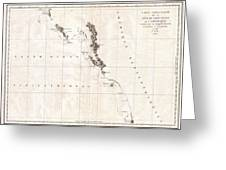 1786 La Perouse Map Of Vancouver And British Columbia Canada Greeting Card by Paul Fearn